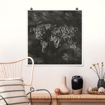 Poster - Chalk Mappa del mondo - Quadrato 1:1