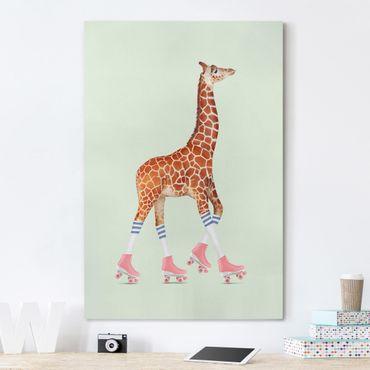Quadri su tela - Giraffa con Pattini a Rotelle
