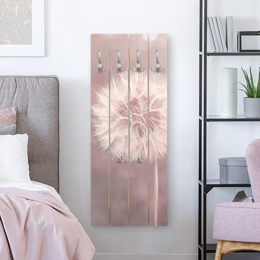 Appendiabiti in legno - Dandelion rosa bokeh - Ganci cromati - Verticale