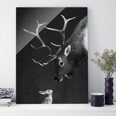 Quadro in vetro - Illustrazione Cervi E coniglio pittura Bianco e nero - Verticale 4:3