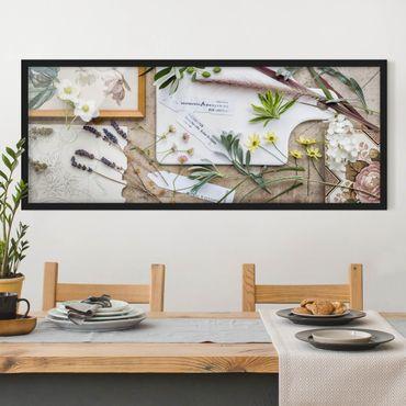 Poster con cornice - Fiori Ed Erbe Del Giardino D'Epoca - Panorama formato orizzontale
