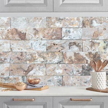 Rivestimento cucina - Mattoni in marmo naturale