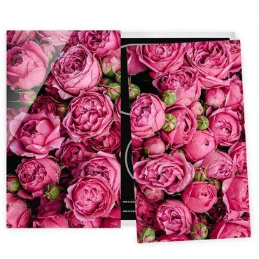 Coprifornelli in vetro - peonie rosa - 52x80cm