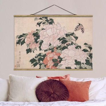 Foto su tessuto da parete con bastone - Katsushika Hokusai - Rosa peonie con la farfalla - Orizzontale 2:3