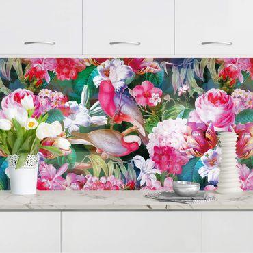 Rivestimento cucina - Tropicali variopinti fiori con uccelli rosa