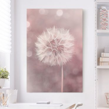 Stampa su tela - Dandelion rosa bokeh - Verticale 3:2