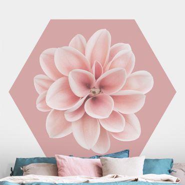 Carta da parati esagonale adesiva con disegni - Dalia su blush rosa