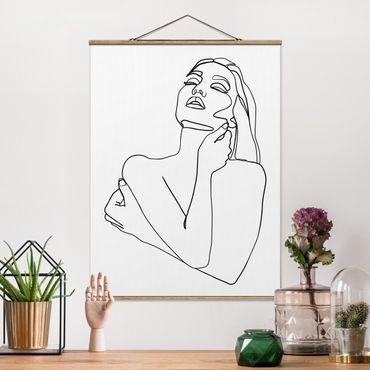Foto su tessuto da parete con bastone - Line Art Torso della donna Bianco e nero - Verticale 4:3