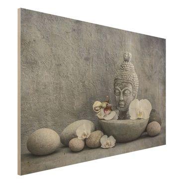 Stampa su legno - Zen Buddha, orchidee e pietre - Orizzontale 2:3