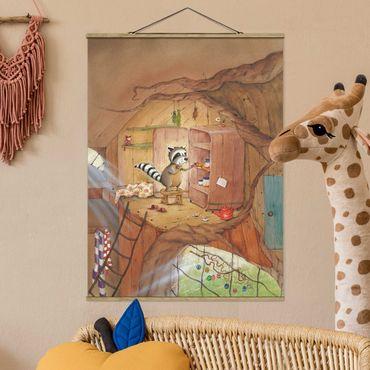 Foto su tessuto da parete con bastone - Procione Wassili - Wassili sull'armadio della cucina