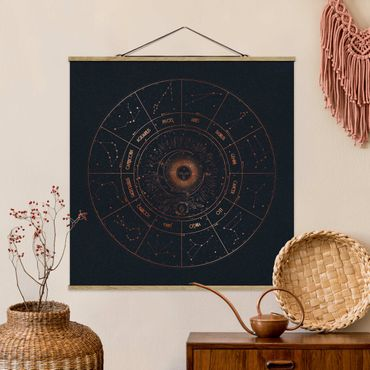 Foto su tessuto da parete con bastone - Astrologia Il 12 Zodiac Blue Gold - Quadrato 1:1