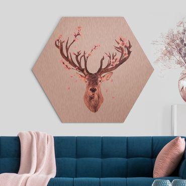 Esagono in Alluminio Dibond - Deer In The Dark