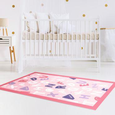 Tappeti in vinile - Alfabeto con cuori e puntini in rosa con cornice - Verticale 1:2