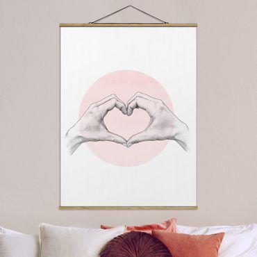 Foto su tessuto da parete con bastone - Laura Graves - Illustrazione Cuore cerchio mani Rosa Bianco - Verticale 4:3