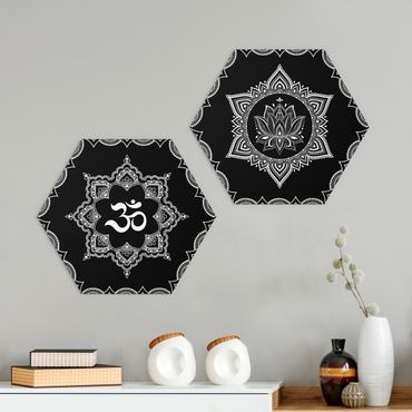 Esagono in Alu-dibond - Lotus OM Illustrazione set black