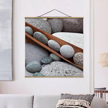 Foto su tessuto da parete con bastone - Ancora Vita Con Grey Stones - Quadrato 1:1