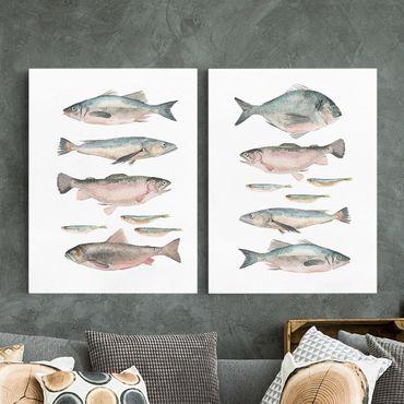 Stampa su tela - Pesce in acquerello Set I - Verticale 4:3