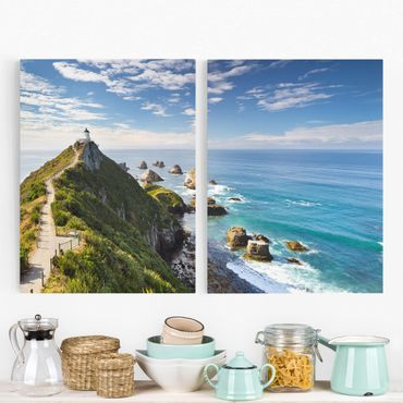 Stampa su tela 2 parti - Nugget Point Lighthouse And New Zealand - Verticale 4:3