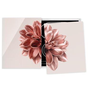 Coprifornelli in vetro - Fiore dalia in oro rosa metallico - 52x80cm
