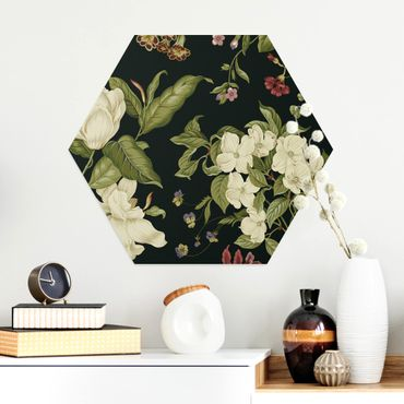 Esagono in Alu-dibond - Garden Flowers On Black I