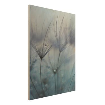 Quadro in legno - Piume blu Sotto La Pioggia - Verticale 3:4