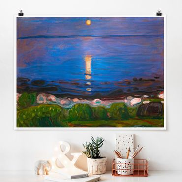 Poster - Edvard Munch - Summer Night On The Sea Beach - Orizzontale 3:4