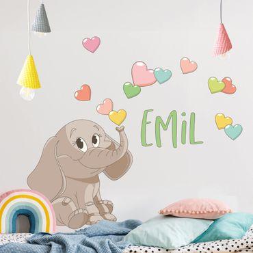 Adesivo murale bambini - Elefante arcobaleno con cuori e nome personalizzato
