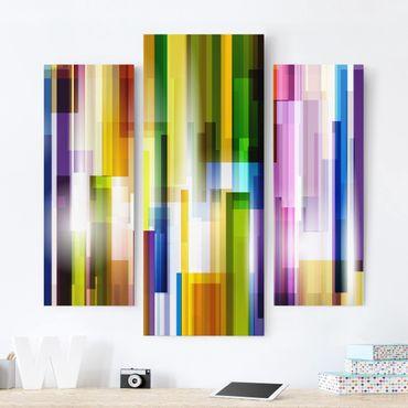 Stampa su tela 3 parti - Rainbow Cubes - Trittico da galleria