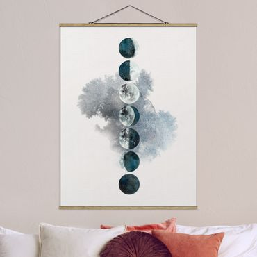Foto su tessuto da parete con bastone - Le fasi della Luna - Verticale 4:3