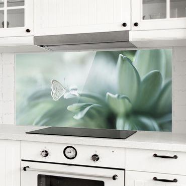 Paraschizzi in vetro - Farfalla E Gocce di rugiada In Pastel Verde - Panoramico