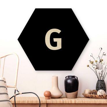 Esagono in legno - Lettera Nero G
