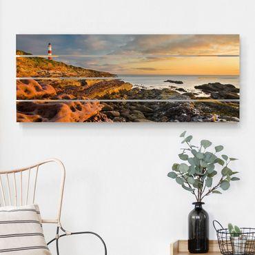 Stampa su legno - Tarbat Ness Sea & faro al tramonto - Orizzontale 2:5