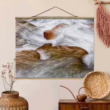 Foto su tessuto da parete con bastone - Freddo ruscello montano - Orizzontale 4:3