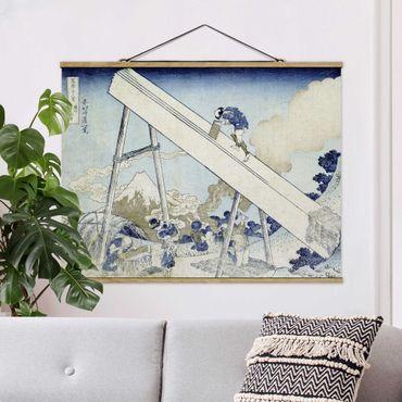 Foto su tessuto da parete con bastone - Katsushika Hokusai - Nelle Montagne Totomi - Orizzontale 3:4