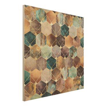 Stampa su legno - Turquoise Geometria Golden Art Deco - Quadrato 1:1