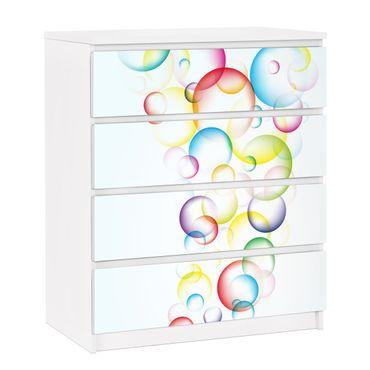 Carta adesiva per mobili IKEA - Malm Cassettiera 4xCassetti - Rainbow Bubbles