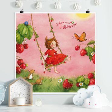 Poster - Strawberry Coniglio Erdbeerfee - Baumschaukel - Quadrato 1:1