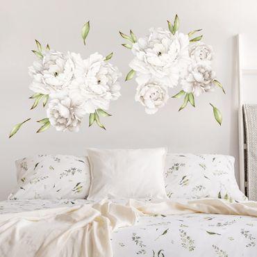 Adesivo murale fiori - Set di peonie in bianco