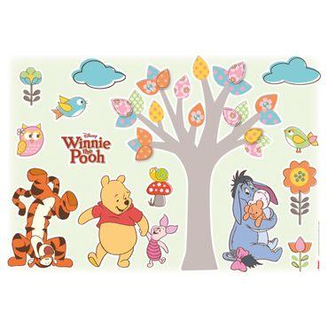 Adesivo murale per bambini - Winnie the Pooh amici della natura