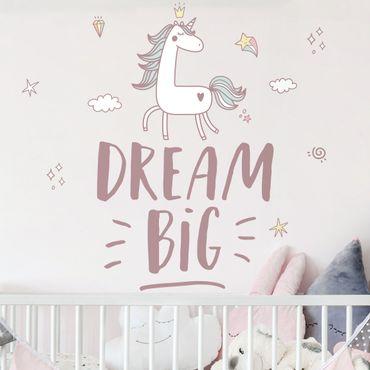 Tatuaggio murale multicolore - Sogno grande unicorno