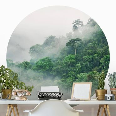 Carta da parati rotonda autoadesiva - Jungle nella nebbia