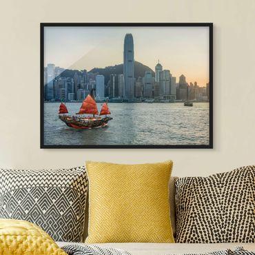 Poster con cornice - Junke nel porto di Victoria
