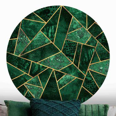 Carta da parati rotonda autoadesiva - Elisabeth Fredriksson - Dark Emerald con l'oro