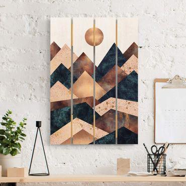 Stampa su legno - Elisabeth Fredriksson - Geometrico Monti bronzo - Verticale 3:2