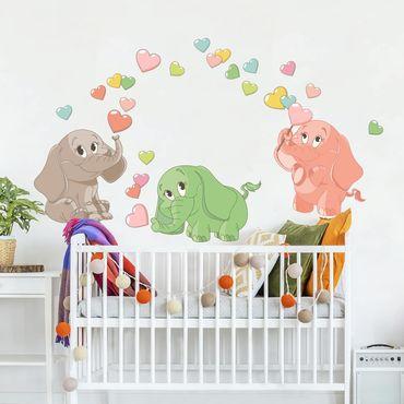 Adesivo murale bambini - Elefantini arcobaleno con cuori