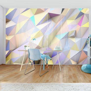 Tende scorrevoli set - Geometric Pastel Triangles In 3D