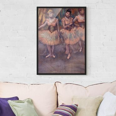 Poster con cornice - Edgar Degas - Three Dancers Before Exercise - Verticale 4:3