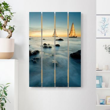 Stampa su legno - Barche a vela in The Ocean - Verticale 3:2