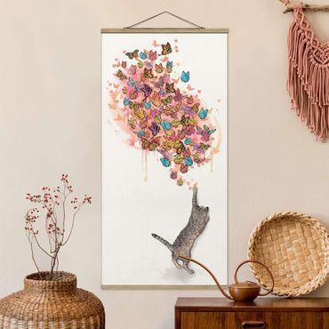 Foto su tessuto da parete con bastone - Laura Graves - Illustrazione del gatto con farfalle colorate Pittura - Verticale 2:1