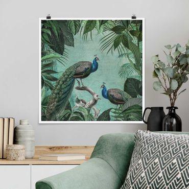 Poster - Shabby Chic Collage - Noble Peacock - Quadrato 1:1